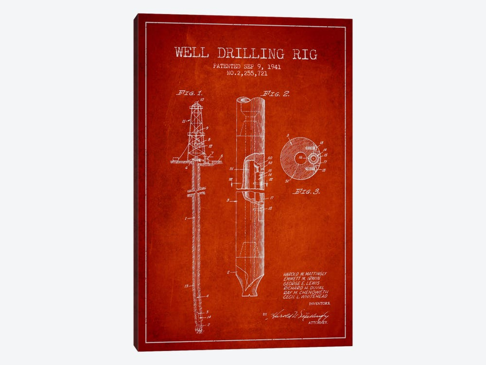 Oil Rig Red Patent Blueprint by Aged Pixel 1-piece Canvas Wall Art