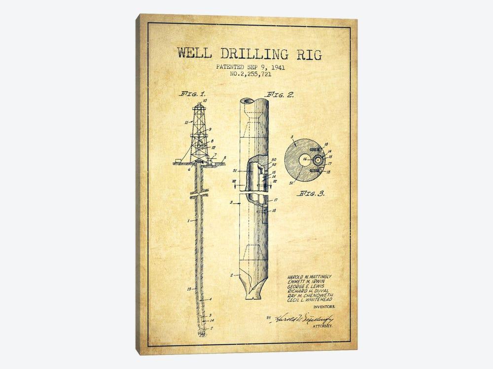 Oil Rig Vintage Patent Blueprint by Aged Pixel 1-piece Canvas Print