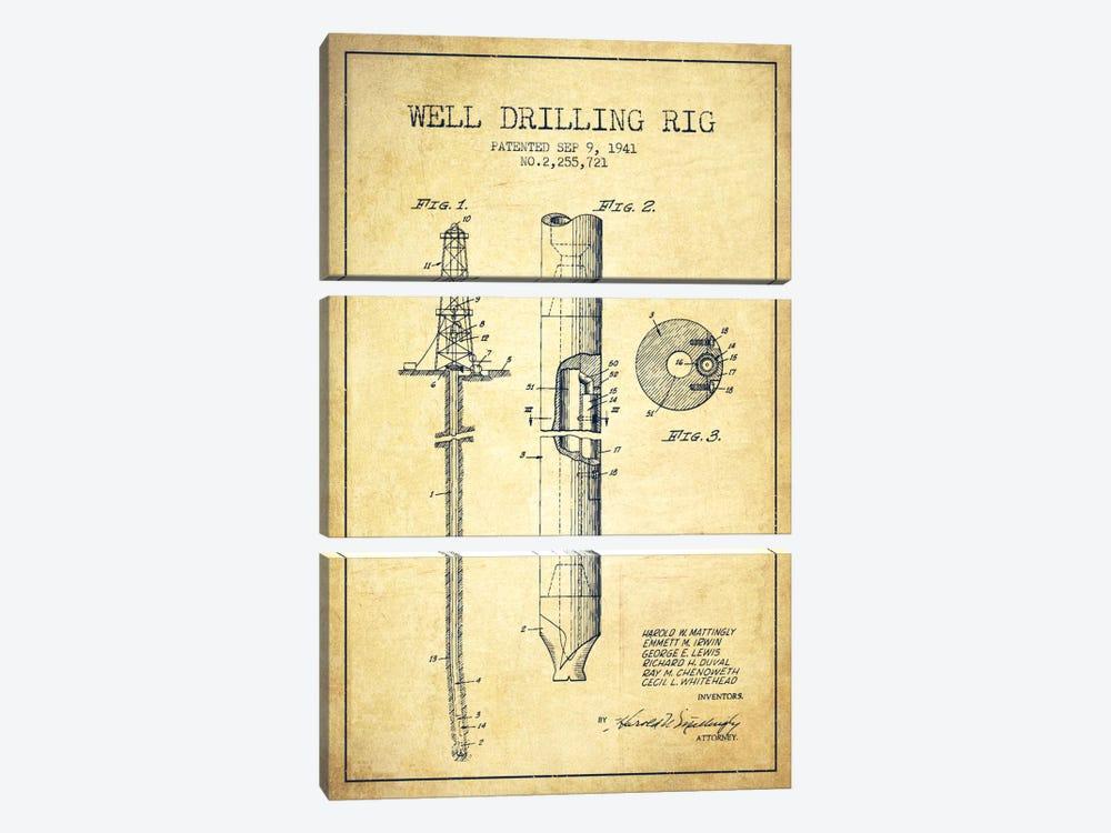 Oil Rig Vintage Patent Blueprint by Aged Pixel 3-piece Canvas Print