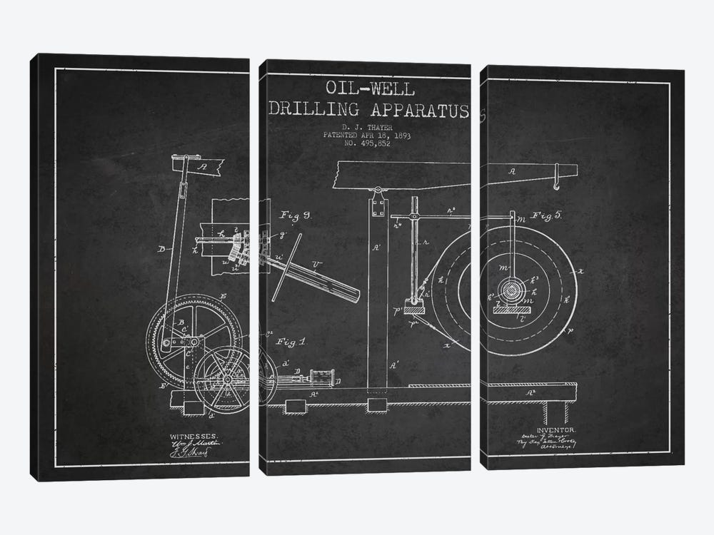 Oil Apparatus Charcoal Patent Blueprint by Aged Pixel 3-piece Canvas Art