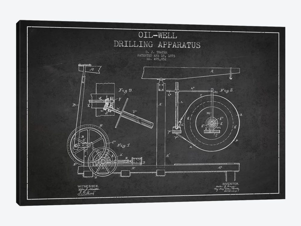 Oil Apparatus Charcoal Patent Blueprint by Aged Pixel 1-piece Canvas Artwork