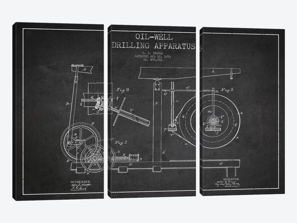 Oil Apparatus Charcoal Patent Blueprint by Aged Pixel 3-piece Canvas Art