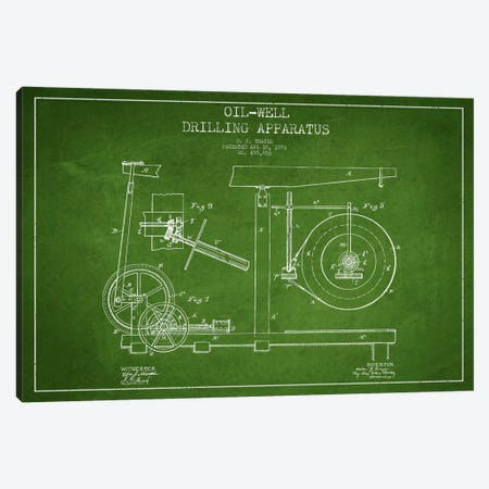 Oil Apparatus Green Patent Blueprint Canvas Print #ADP1415} by Aged Pixel Canvas Artwork
