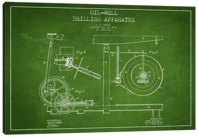 Oil Apparatus Green Patent Blueprint Canvas Art Print