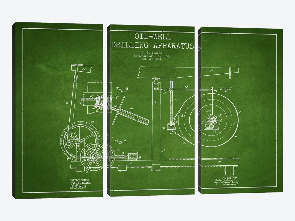 Oil Apparatus Green Patent Blueprint by Aged Pixel 3-piece Art Print