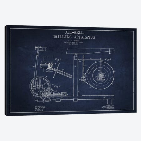 Oil Apparatus Navy Blue Patent Blueprint Canvas Print #ADP1416} by Aged Pixel Canvas Art