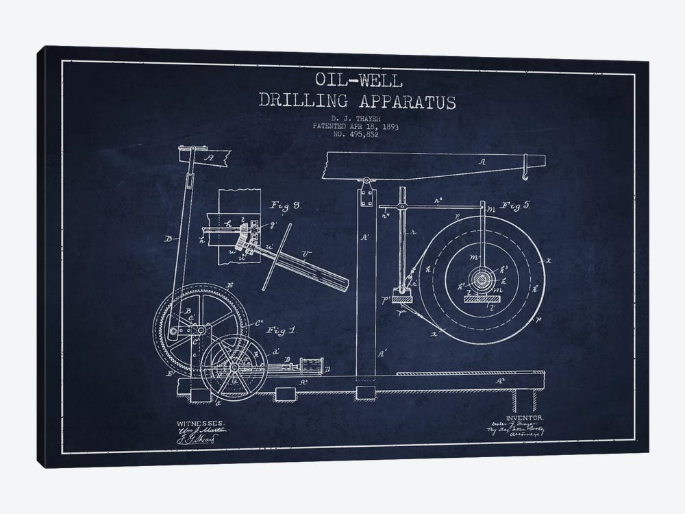 Oil Apparatus Navy Blue Patent Blueprint by Aged Pixel 1-piece Canvas Wall Art