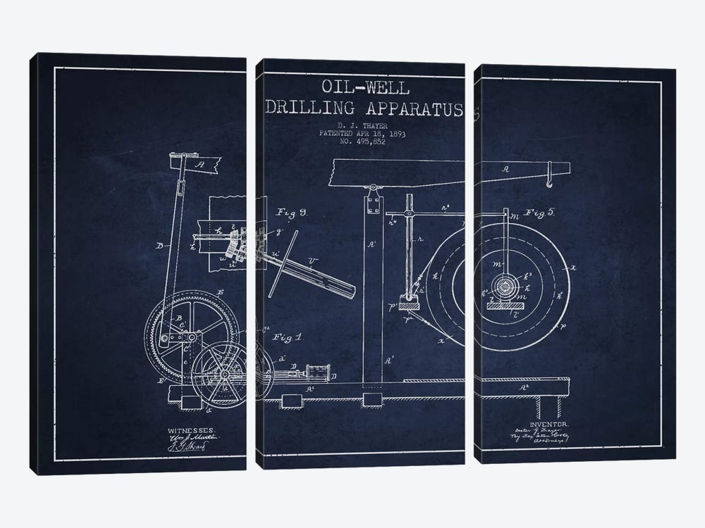 Oil Apparatus Navy Blue Patent Blueprint by Aged Pixel 3-piece Canvas Art
