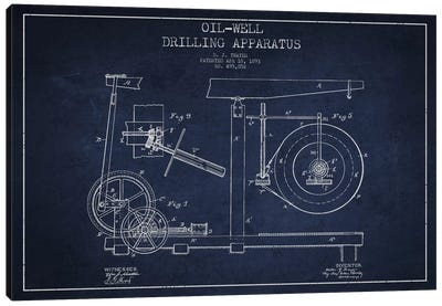 Oil Apparatus Navy Blue Patent Blueprint Canvas Art Print