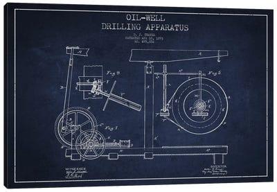 Oil Apparatus Navy Blue Patent Blueprint Canvas Art Print