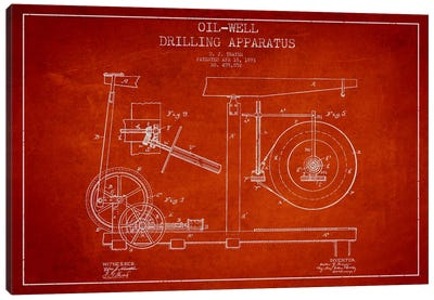Oil Apparatus Red Patent Blueprint Canvas Art Print