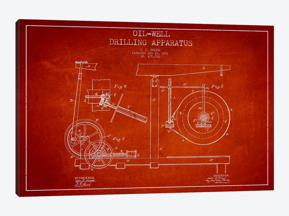 Oil Apparatus Red Patent Blueprint by Aged Pixel 1-piece Art Print