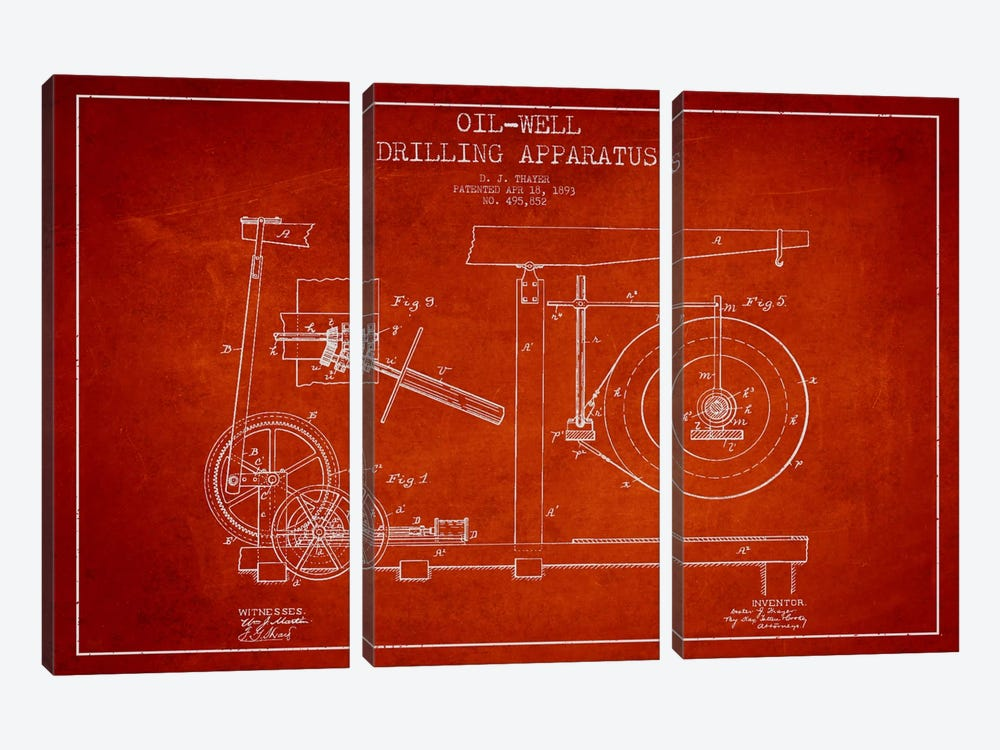 Oil Apparatus Red Patent Blueprint by Aged Pixel 3-piece Art Print