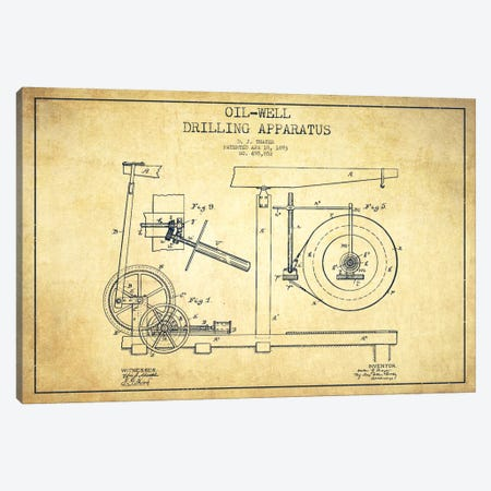 Oil Apparatus Vintage Patent Blueprint Canvas Print #ADP1418} by Aged Pixel Canvas Print