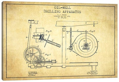 Oil Apparatus Vintage Patent Blueprint Canvas Art Print