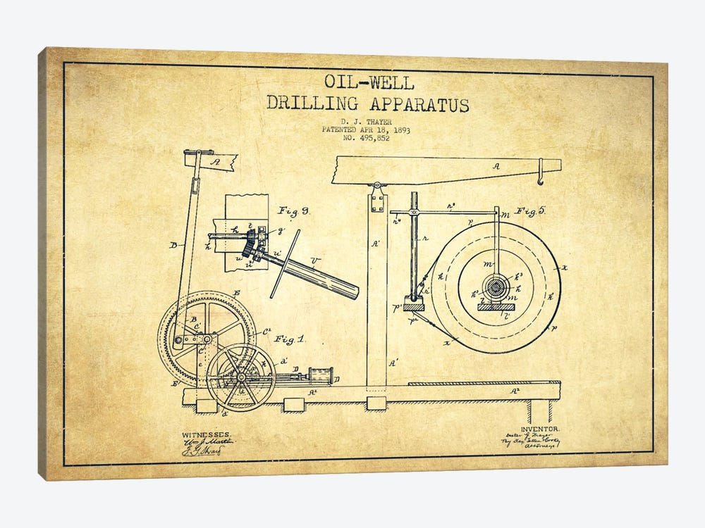 Oil Apparatus Vintage Patent Blueprint by Aged Pixel 1-piece Canvas Artwork