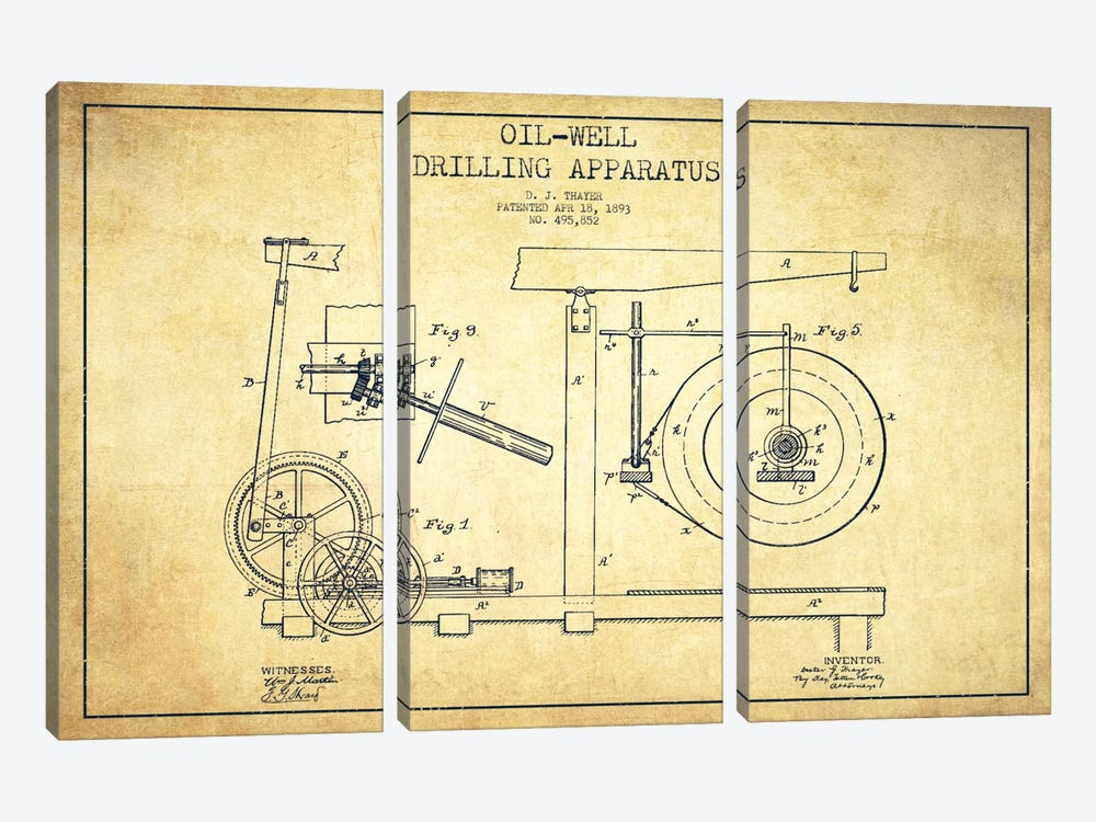 Oil Apparatus Vintage Patent Blueprint 3-piece Canvas Artwork