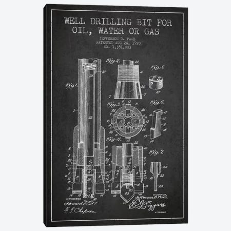 Oil Drill Bit Charcoal Patent Blueprint Canvas Print #ADP1419} by Aged Pixel Art Print