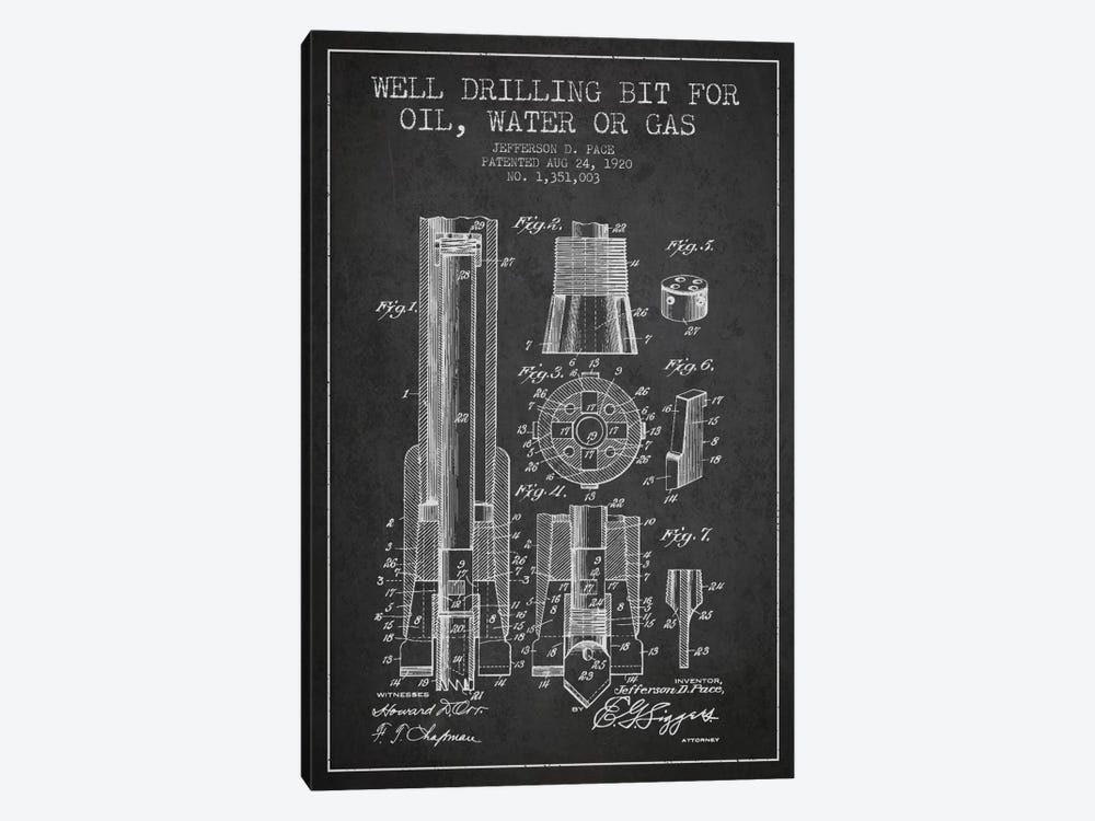 Oil Drill Bit Charcoal Patent Blueprint by Aged Pixel 1-piece Art Print