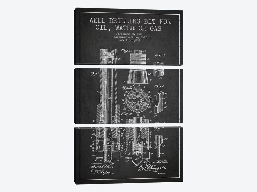 Oil Drill Bit Charcoal Patent Blueprint by Aged Pixel 3-piece Canvas Art Print