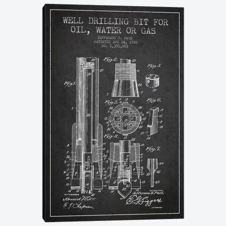 Oil Drill Bit Charcoal Patent Blueprint Canvas Print #ADP1419} by Aged Pixel Art Print