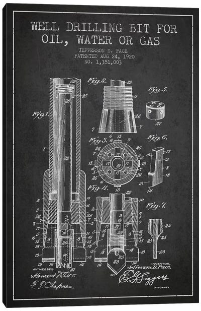 Oil Drill Bit Charcoal Patent Blueprint Canvas Art Print