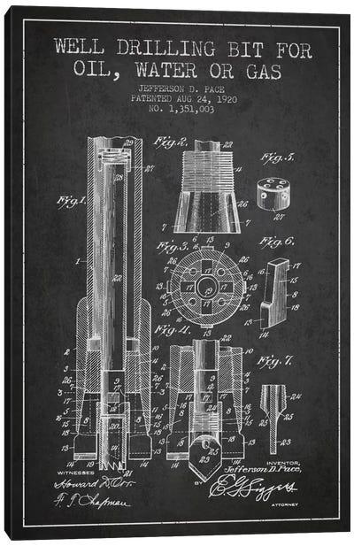 Oil Drill Bit Charcoal Patent Blueprint Canvas Art Print