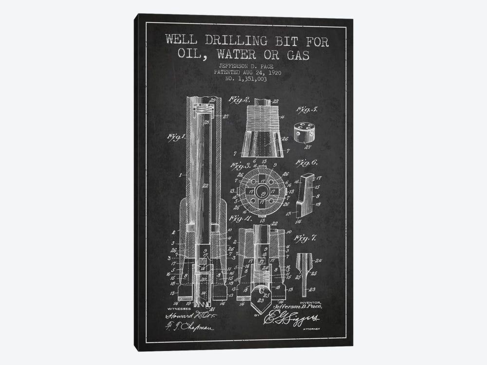 Oil Drill Bit Charcoal Patent Blueprint by Aged Pixel 1-piece Art Print