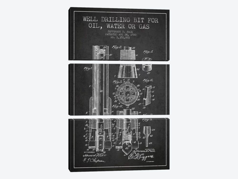 Oil Drill Bit Charcoal Patent Blueprint by Aged Pixel 3-piece Canvas Art Print