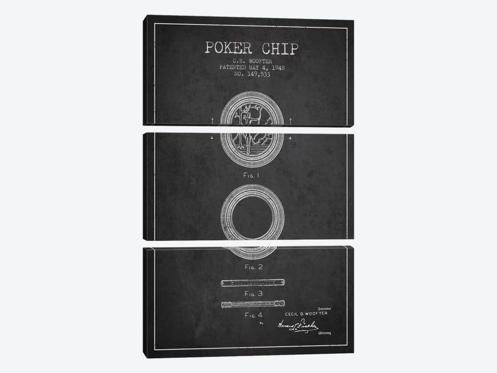 Poker Chip 2 Charcoal Patent Blueprint by Aged Pixel 3-piece Canvas Art Print