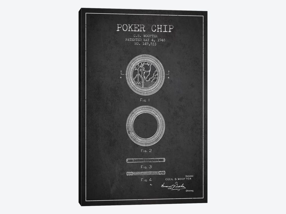 Poker Chip 2 Charcoal Patent Blueprint by Aged Pixel 1-piece Canvas Print