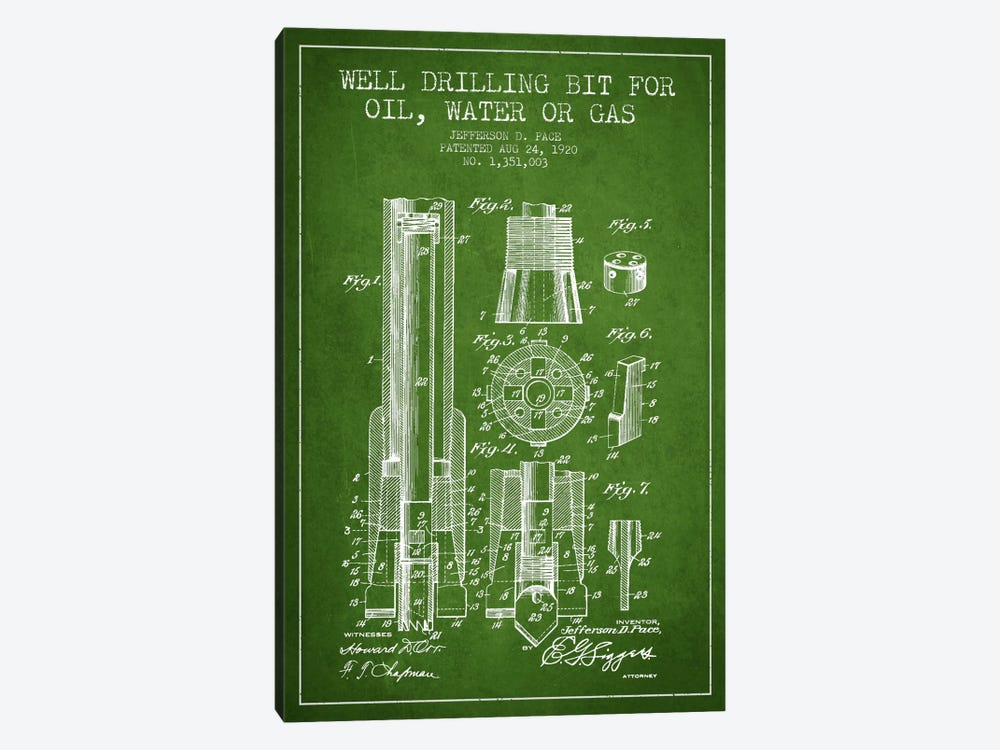 Oil Drill Bit Green Patent Blueprint by Aged Pixel 1-piece Canvas Print