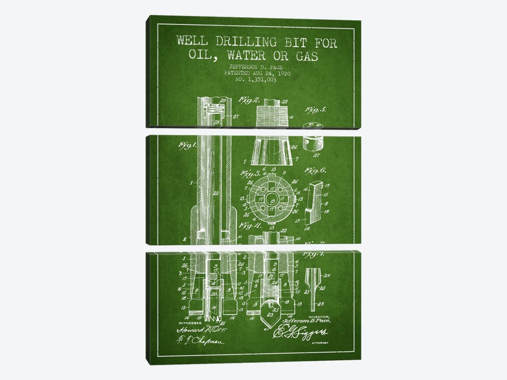 Oil Drill Bit Green Patent Blueprint by Aged Pixel 3-piece Canvas Art Print