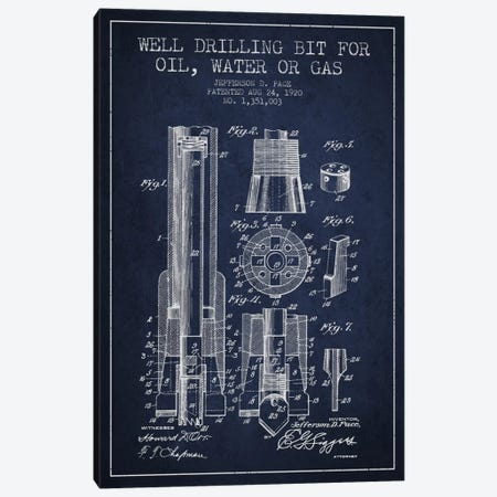 Oil Drill Bit Navy Blue Patent Blueprint Canvas Print #ADP1421} by Aged Pixel Canvas Artwork