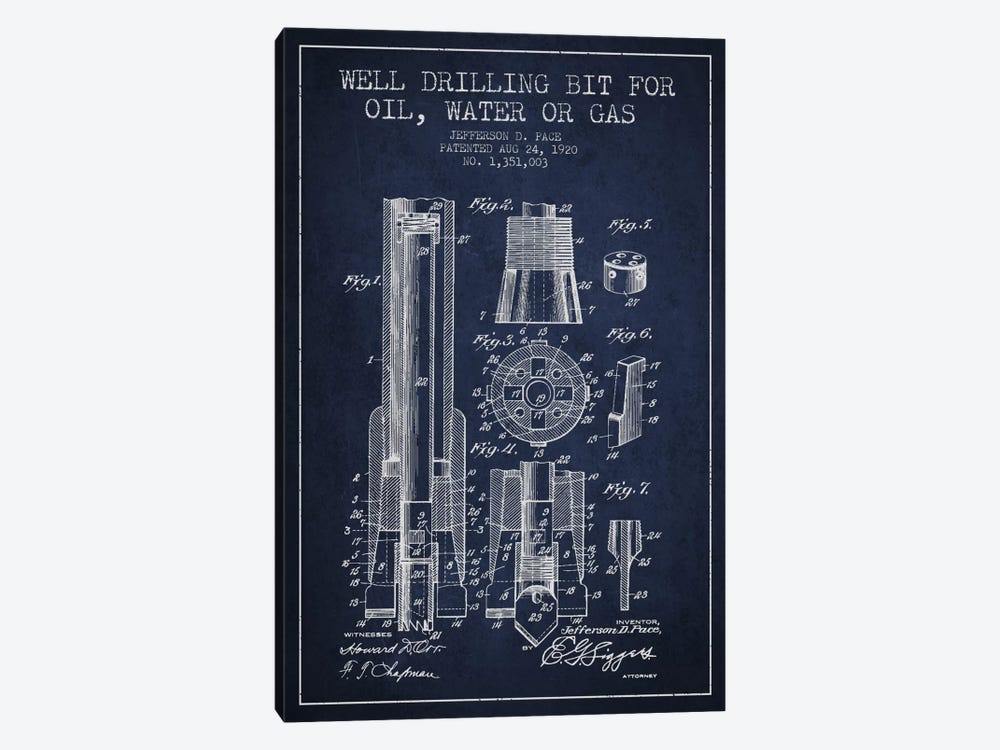 Oil Drill Bit Navy Blue Patent Blueprint by Aged Pixel 1-piece Canvas Artwork