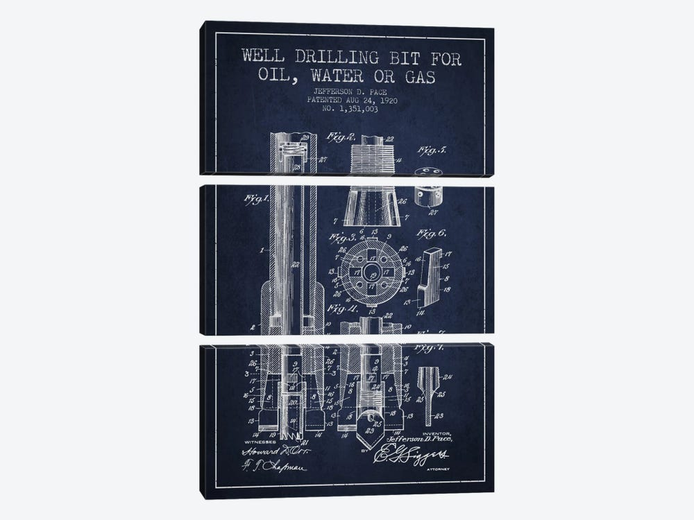 Oil Drill Bit Navy Blue Patent Blueprint by Aged Pixel 3-piece Canvas Wall Art