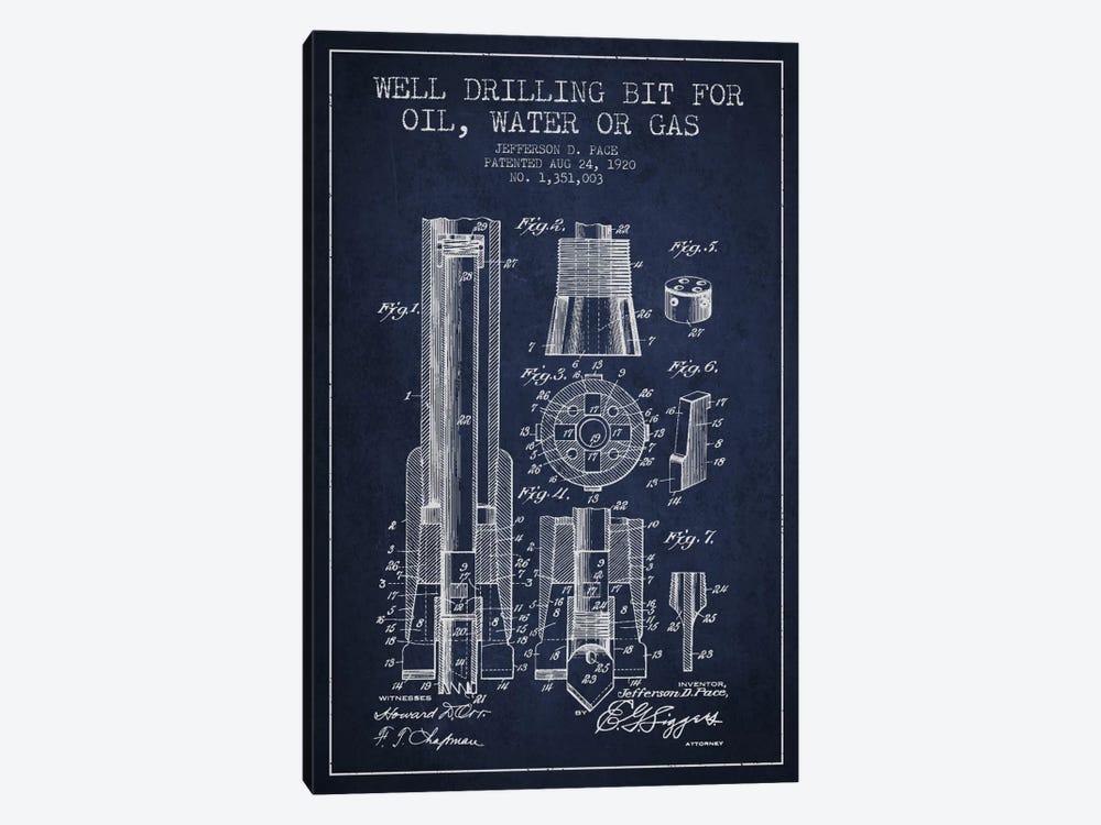 Oil Drill Bit Navy Blue Patent Blueprint by Aged Pixel 1-piece Canvas Artwork