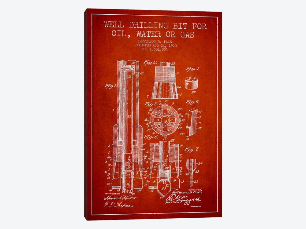 Oil Drill Bit Red Patent Blueprint 1-piece Canvas Art Print