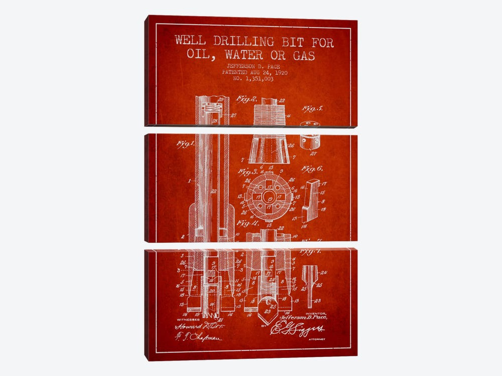 Oil Drill Bit Red Patent Blueprint 3-piece Canvas Art Print