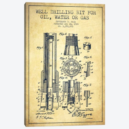 Oil Drill Bit Vintage Patent Blueprint Canvas Print #ADP1423} by Aged Pixel Canvas Artwork