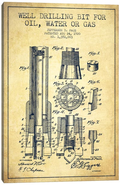 Oil Drill Bit Vintage Patent Blueprint Canvas Art Print