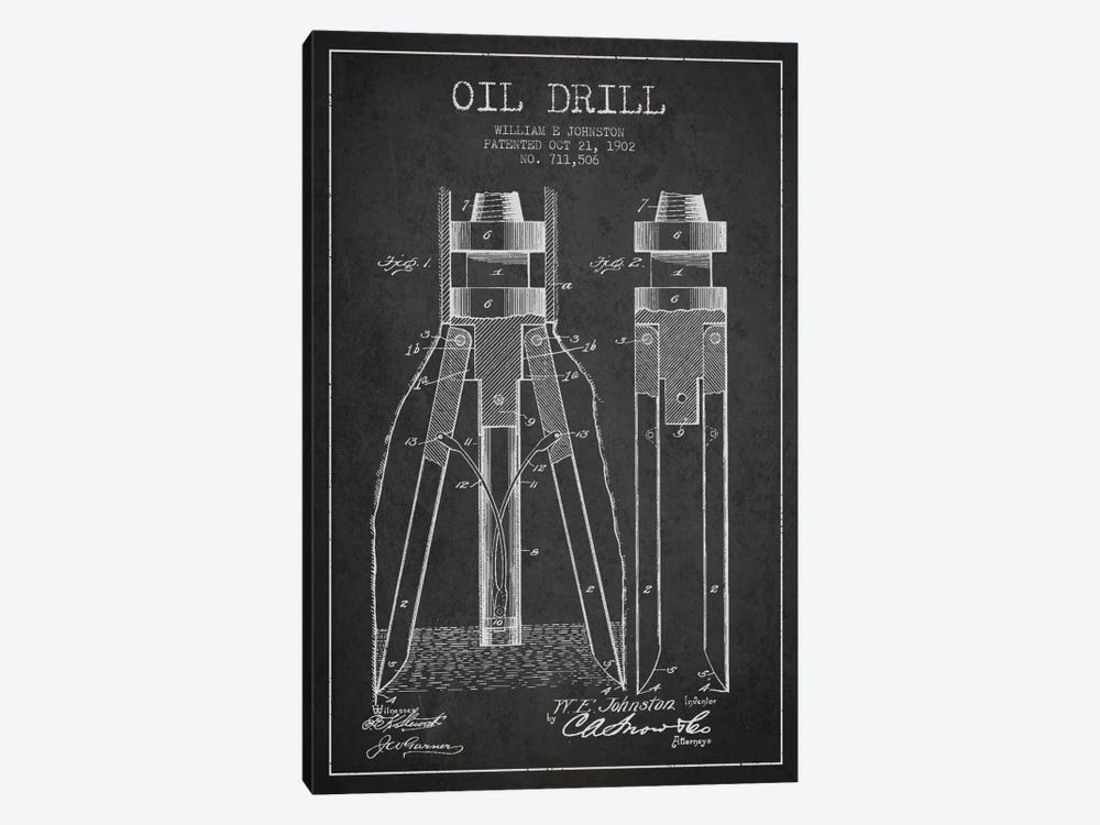 Oil Drill Charcoal Patent Blueprint by Aged Pixel 1-piece Canvas Art Print