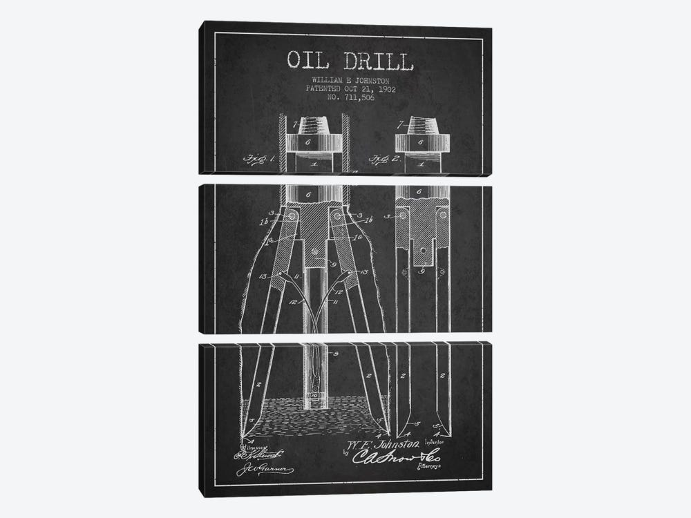 Oil Drill Charcoal Patent Blueprint by Aged Pixel 3-piece Art Print