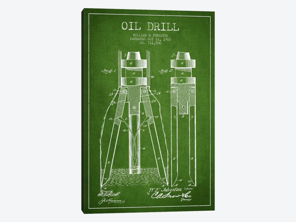 Oil Drill Green Patent Blueprint 1-piece Canvas Artwork