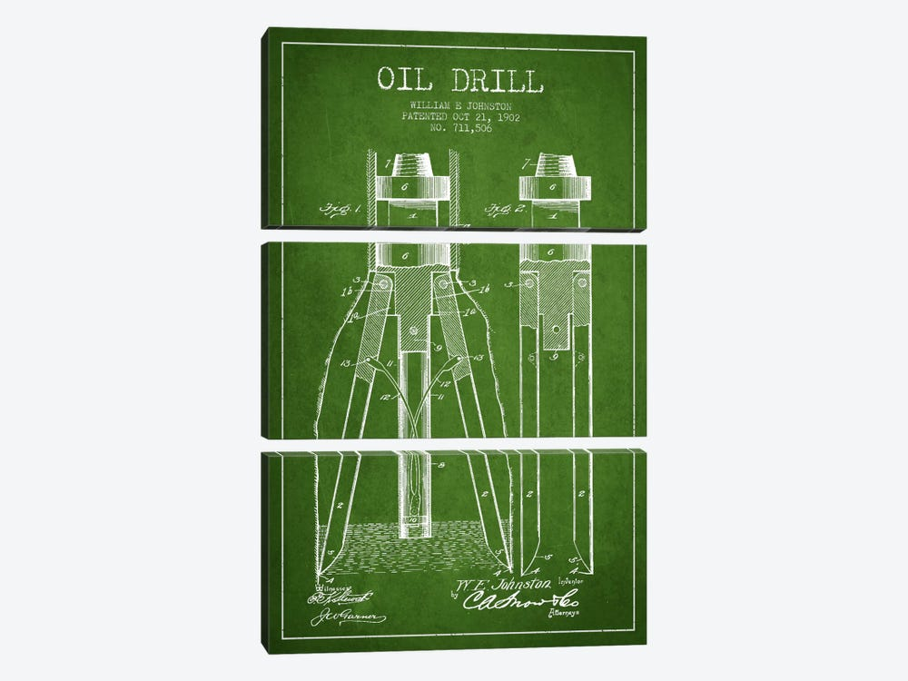 Oil Drill Green Patent Blueprint by Aged Pixel 3-piece Canvas Artwork