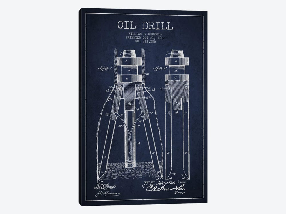 Oil Drill Navy Blue Patent Blueprint by Aged Pixel 1-piece Canvas Art Print