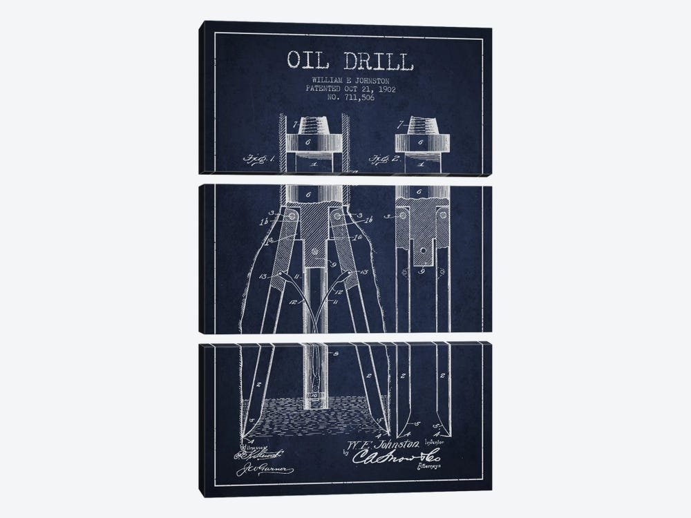 Oil Drill Navy Blue Patent Blueprint by Aged Pixel 3-piece Canvas Art Print