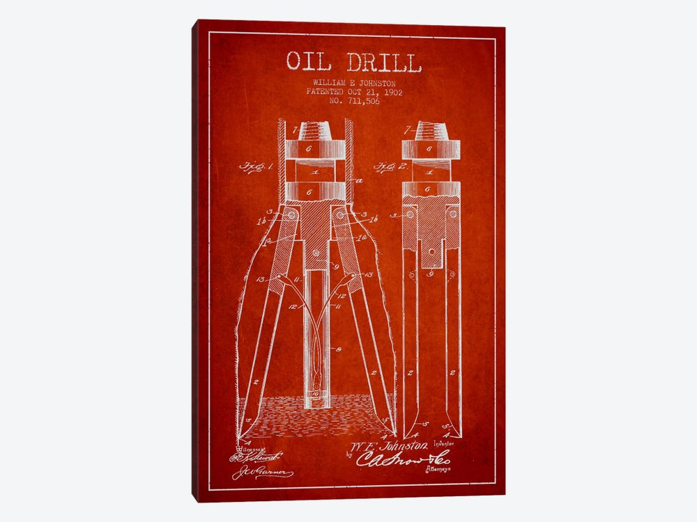 Oil Drill Red Patent Blueprint by Aged Pixel 1-piece Canvas Artwork