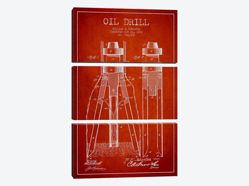 Oil Drill Red Patent Blueprint by Aged Pixel 3-piece Canvas Art