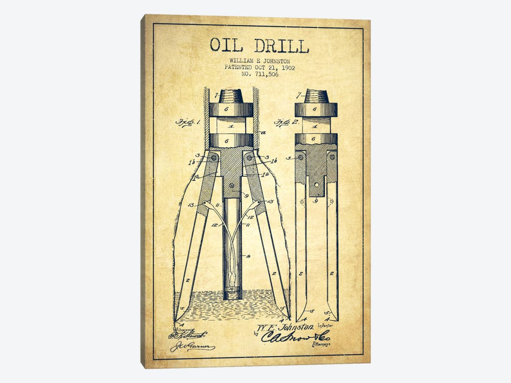 Oil Drill Vintage Patent Blueprint by Aged Pixel 1-piece Canvas Print